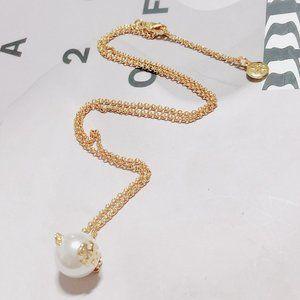 Tory Burch Fashion Pearl Pendant Clavicle Chain
